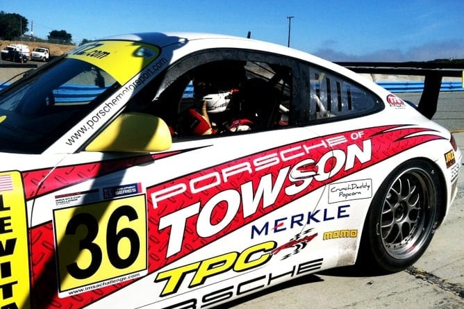 TPC Racing Porsche GT3 Cup Car in paddock at Laguna Seca, 2013