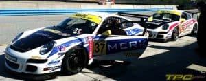 TPC Racing No. 37 Porsche GT3 Cup Car in pit at Laguna Seca, 2013