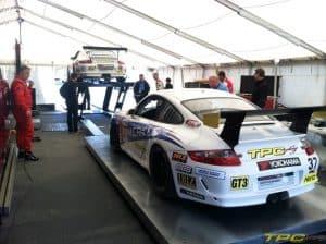 TPC Racing Porsche GT3 No. 36 car in tech at Laguna Seca, 2013