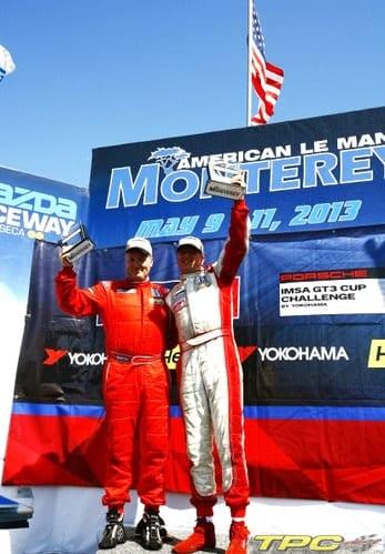 Michael Levitas and David Williams of TPC Racing on podium at Laguna Seca, IMSA Porsche GT3 Cup Challenge 2013